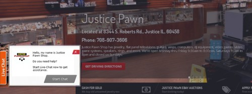 Justice Pawn Live Chat Screen