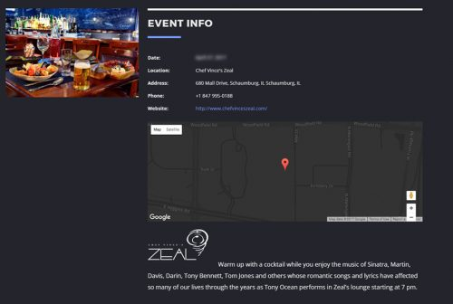 Tony Ocean Website Events Page